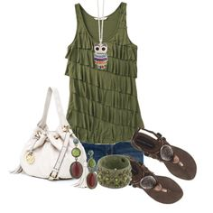 Olive green. Oh, I want my things so I can unpack and find my owl necklace!