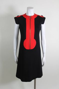 1960s Pierre Cardin Red and Black Wool Mod Dress | From a collection of rare vintage evening dresses at https://www.1stdibs.com/fashion/clothing/evening-dresses/