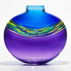 """""""Transparent Banded Vortex Vase in Cerulean Cool Lime and Grape""""  Art Glass vase    Created by Michael Trimpol  A flattened vase with 3 distinct bands, the middle being a swirl of colors the top and bottom solid colors. Hot constructed, free-blown and flattened."""