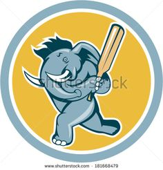 Illustration of an african elephant batting with cricket bat done in cartoon style on isolated white background. #cricket #retro #illustration