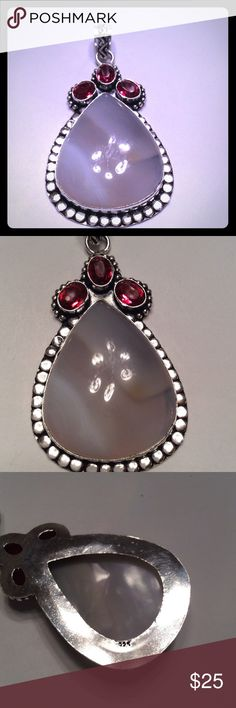 """BOTSWANA AGATE &GARNET PENDANT .925 BOTSWANA AGATE AND GARNET GEMSTONE ACCENTS AT TOP OF PENDANT SET IN .925 SILVER. NEW IN BAG 3"""" LONG. SEE DIFFERENCES IN SIZE WITH OTHER PENDANT THAT IS ANOTHER LISTING. NEW IN BAG. boutique Jewelry Necklaces"""