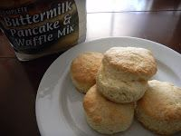 Biscuits - Made With Pancake. Mix 2 1/2 - 3 cups of complete pancake mix (the recipe called for 2 1/2 cups of mix, but we found we needed 3 cups), 1/3 cup water, 1/4 cup melted butter, 1 egg.  Mix, shape, bake at 425 ~ 10 min.