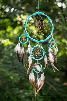 Hand Made Large Dream Catchers With Feathers Blue