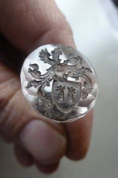 RARE Antique Gold Rock Crystal Wax Seal Amorial Intaglio Cut Pendant 1800'S | eBay