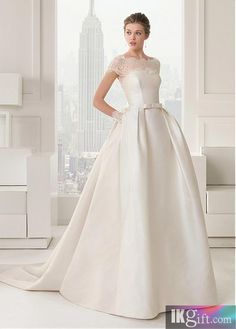 Chic Satin Strapless Neckline Natural Waistline Ball Gown Wedding Dress With Lace Appliques - Ball Gown Dresses - Wedding Dresses - Wedding & Events