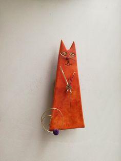 Orange cat clock ceramic wall clock of by ArktosCollectibles