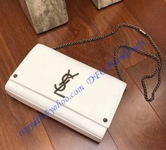 YSL Kate Monogram Crossbody Bag White with braided metal logo and chain  strap b062926407435