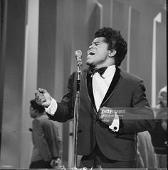 American soul singer James Brown sings on the Ed Sullivan Show, New York, May 1…