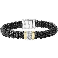 LAGOS Black Caviar Small Diamond Station Bracelet ($1,600) ❤ liked on Polyvore featuring jewelry, bracelets, black, lagos jewelry, 18k jewelry, beaded cord bracelet, 18 karat gold jewelry and rope bracelet