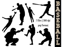 Baseball Silhouettes // Sports Silhouette // Ball Clipart // Athletic, Athlete Silhouettes // Softball on Etsy, $6.00