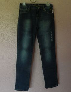 Justice Jeans Girls Size 16R Dark Blue Distressed Denim Stretch 5 Pocket NWT #Justice #ClassicStraightLeg #Everyday