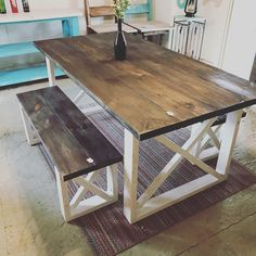 Rustic Farmhouse Table With Benches with Dark Walnut Top and Weathered White Base and Cross Brace Design. Rustic Farmhouse Table With Benches with Dark Walnut Top and Weathered White Base and Cross Brace D Farmhouse Table With Bench, Farmhouse Kitchen Tables, Rustic Table, Kitchen Table With Bench, Dining Table Bench, Diy Kitchen, Wood Tables, White Farmhouse, Antique Farmhouse