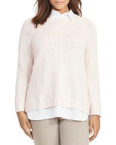 Lauren Ralph Lauren Plus Size Layered Sweater - Pale Rose Marl
