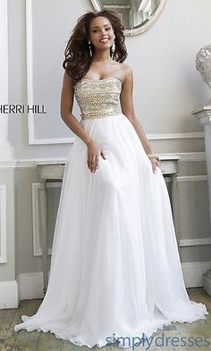 Long Strapless Evening Gown by Sherri Hill at SimplyDresses.com