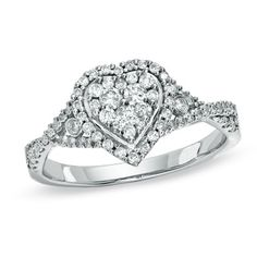 1/2 CT. T.W. Composite Heart Diamond Engagement Ring in 14K White Gold - Zales... Love this!