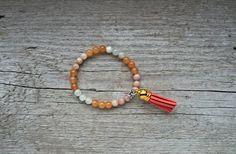 Moonstone and orange calcite bracelet - orange tassel bracelet, tassel jewelry, orange prayer beads, orange crystal healing * FREE SHIPPING
