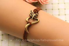 Fox bracelet,retro bronze bracelet,brown rope chain bracelet,so cute and lovely,best gift for your lover girl friend and friends---B337