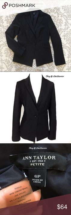 Ann Taylor fitted black blazer w/ ruched sleeves Reduced to lowest! Gorgeous black one button blazer from Ann Taylor has flattering fitted silhouette and partial ruching detail on sleeves for a modern touch. Sized 6P but also works for a regular 6, but happy to provide any measurements if requested. If this is your first time shopping my closet, please read my about me and my closet listing prior to any inquiries. Ann Taylor Jackets & Coats Blazers
