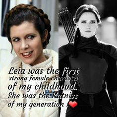Love to all the strong female characters that inspire so many young women everywhere. #PricessLeia # Carrie Fisher #KatnissEverdeen #JenniferLawrence