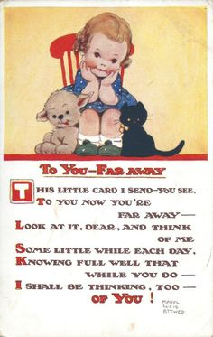 "Mabel Lucie Attwell Postcard No 2040 Posted 1932. ""To You - Far Away..."" (370)"