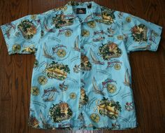 Jimmy Buffett Margaritaville Shirt camp L Nautical Sailing Changes in Latitudes #Margaritaville #ButtonFront