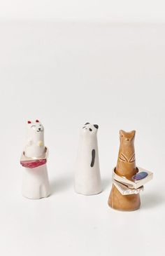 These Animal RING holders are adorable. Handmade ceramic in Japan. Cat Fox P - Cell Phone Ring Holder - Ideas of Cell Phone Ring Holder - These Animal RING holders are adorable. Handmade ceramic in Japan. Cat Fox Panda 3 high Made in Japan Ceramic Jewelry, Ceramic Clay, Porcelain Ceramics, Clay Jewelry, Ceramic Pottery, Pottery Plates, Slab Pottery, Pottery Wheel, Pottery Mugs