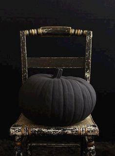 Big pumpkin spray painted matte black