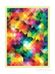 Colorful Triangles Modern Abstract Mosaic Design Pattern Posters by Melindula at AllPosters.com