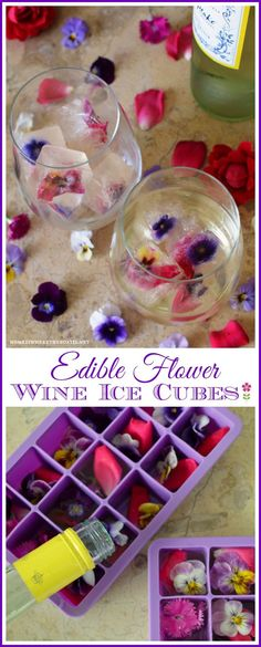 Keep your wine chilled and festive with Frozen Wine Cubes with Edible Flowers | homeiswheretheboatis.net #edibleflowers