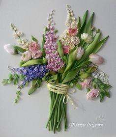 Flower bouquet of ribbon embroidery with depth by Kartiny Panno. Ксения Белых (Украина)