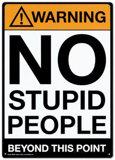 Warning No Stupid People Placa de lata na AllPosters.com.br