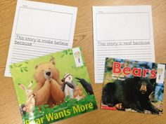 Tunstall's Teaching Tidbits: writing My story is Real because... My story is make believe because.