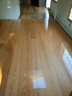 We recently sanded and refinished these 7″ pegged Red Oak hardwood floors in Hudson, MA. The picture speaks for itself! It looks great!