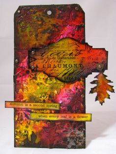 Fall Colors Textured Tag  distress inks: spiced marmalade, crushed olive, dusty concord, shabby shutters, mustard seed, barn door, brushed corduroy, black soot