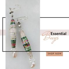 Long paper bead drop earrings with fresh water pearls and sterling silver. Paper Jewelry, Paper Beads, Resin Jewelry, Jewelry Shop, Jewelry Art, Fashion Jewelry, Jewelry Rings, Jewellery, Silver Bracelets