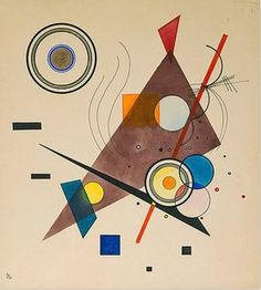 """Wassily Kandinsky 1923 -The First World War put an end to """"der blaue reiter"""". Marc and Macke died and Klee, Kandinsky and others left the country. In 1920 Klee and Kandinsky returned to Germany. They were appointed as teachers at the now Bauhaus. Kandinsky Art, Wassily Kandinsky Paintings, Abstract Painters, Abstract Art, Abstract Landscape, Art Conceptual, Geometric Art, Art Plastique, Abstract Expressionism"""