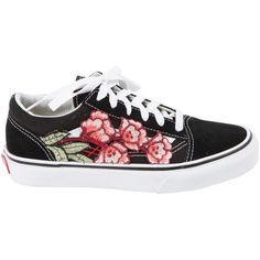 Pre-owned Vans Cloth Trainers (775 BRL) ❤ liked on Polyvore featuring shoes, sneakers, vans, black, women shoes trainers, flower shoes, canvas sneakers, vans shoes, embroidered shoes and black suede sneakers