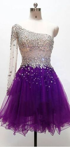 One Shoulder Homecoming Dress, Purp