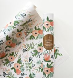 Wildflower Set of 3 rolled wrapping sheets $8.50