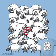 Hey look.a tshirt with obamas voters on it! (Where's Waldo - Sheep version) Knitting Quotes, Knitting Humor, Crochet Humor, Knitting Yarn, Sheep Art, Sheep And Lamb, Baby Sheep, Knit Art, Counting Sheep