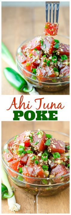 Ahi Tuna Poke is a refreshing and savory Hawaiian snack, perfect for warm weather – or anytime you want to pretend you're in a tropical paradise. Sub soy sauce with coconut aminos. Tuna Recipes, Seafood Recipes, Asian Recipes, Cooking Recipes, Healthy Recipes, Cooking Tips, Recipies, Fish Dishes, Seafood Dishes
