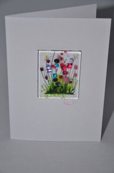 Handmade Fused Glass Art Cards Poppy Daisy by PamPetersDesigns