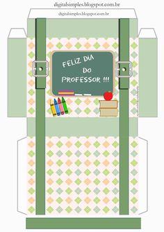 Caixas para o Dia dos Professores - Convites Digitais Simples Printable Box, Printables, Handmade Stationary, Back To School Gifts For Teachers, Diy And Crafts, Paper Crafts, Teachers' Day, Diy Box, Paper Toys