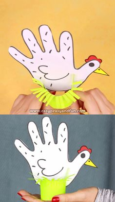 Easter handprint art gets with this cool chicken handprint craft for kids. - - Easter handprint art gets with this cool chicken handprint craft for kids. Easter handprint art gets with this cool chicken handprint craft for kids. Bee Crafts For Kids, Easy Mother's Day Crafts, Bunny Crafts, Easter Art, Easter Crafts For Kids, Flower Crafts, Preschool Crafts, Art For Kids, Arts And Crafts