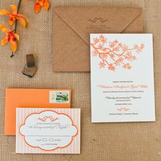 Branches Letterpress Invitation Suite DEPOSIT by apdesignco, $100.00