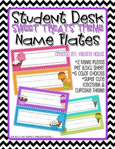 $1.00: Just a simple, cute, colorful student desk name plate. *Two name plates fit on an 8.5x11 sheet.*Six different colors to choose from.*Polka ...