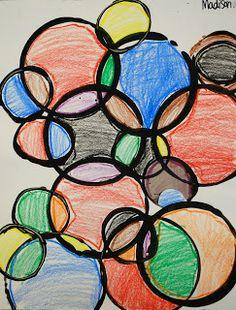 KINDERGARTEN - Circle Prints using Styrofoam cups & black Tempera paint...Adventures of an Art Teacher