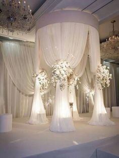Fabulous ceremony design <3. All white mandap