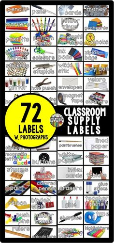 72 classroom supply labels with REAL photographs!