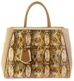 Fendi 2Jours Printed Snake and Canvas Tweed Tote